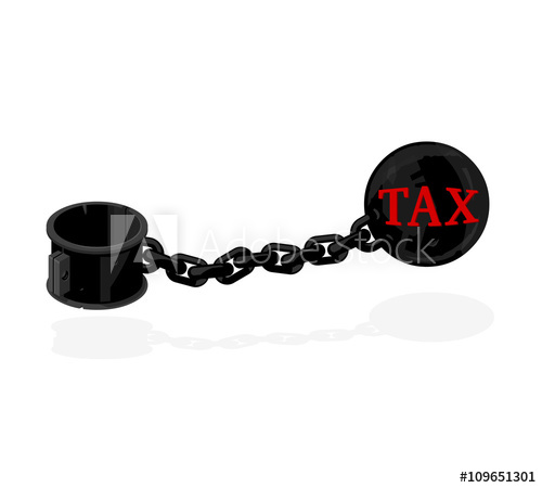 500x450 Vector Illustration Of A Heavy Tax Icon. Iron Ball And Chain