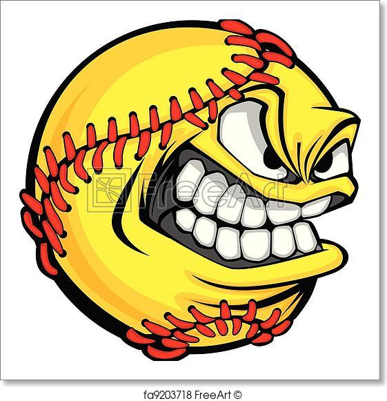 561x581 Free Art Print Of Fast Pitch Softball Face Cartoon Ball Vector