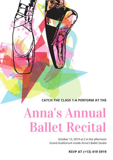 389x550 Colorful Pointe Shoes Vector Dance Poster
