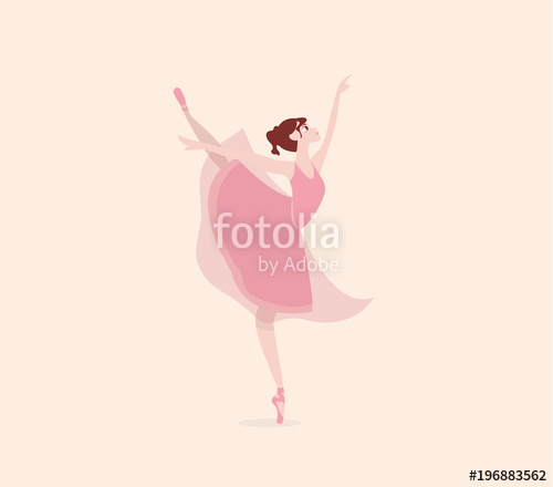 500x440 Cute Cartoon Dancing Ballerina. Vector Illustration. Ballet Shoes