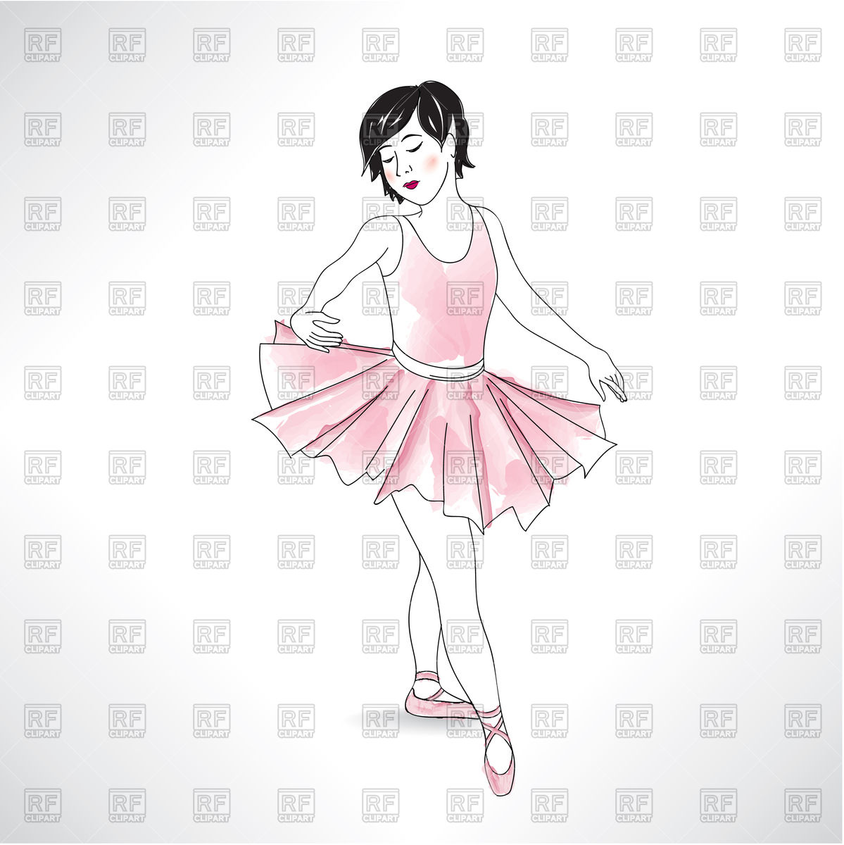 1199x1200 Girl Dancing In Ballet Shoes And Ballet Tutu Vector Image Vector