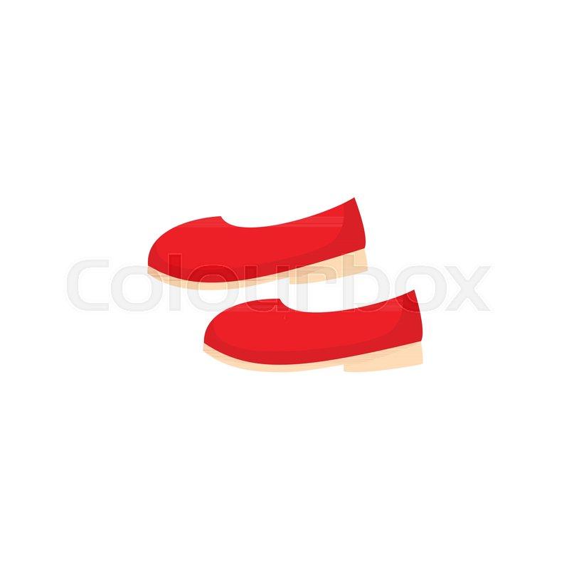 800x800 Pair Of Simple Red Ballerina Shoes, Pumps, Flats, Cartoon Vector