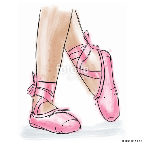 500x500 Pink Ballerina Shoes. Ballet Pointe Shoes With Ribbon. Stock