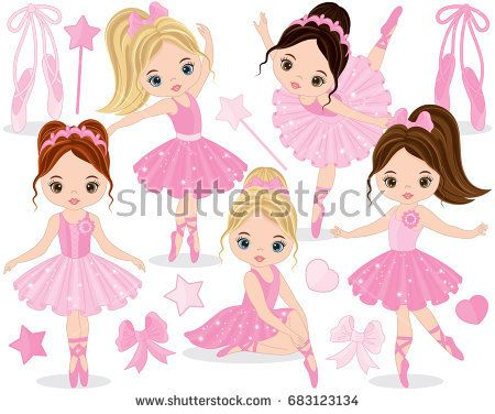 450x376 Vector Set With Cute Little Ballerinas, Bows And Ballet Shoes