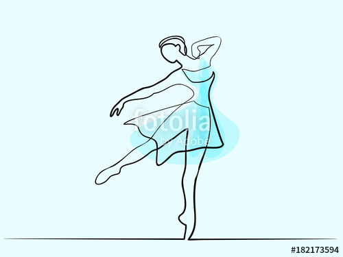 500x375 Continuous Line Different Wide Art Drawing. Ballet Dancer