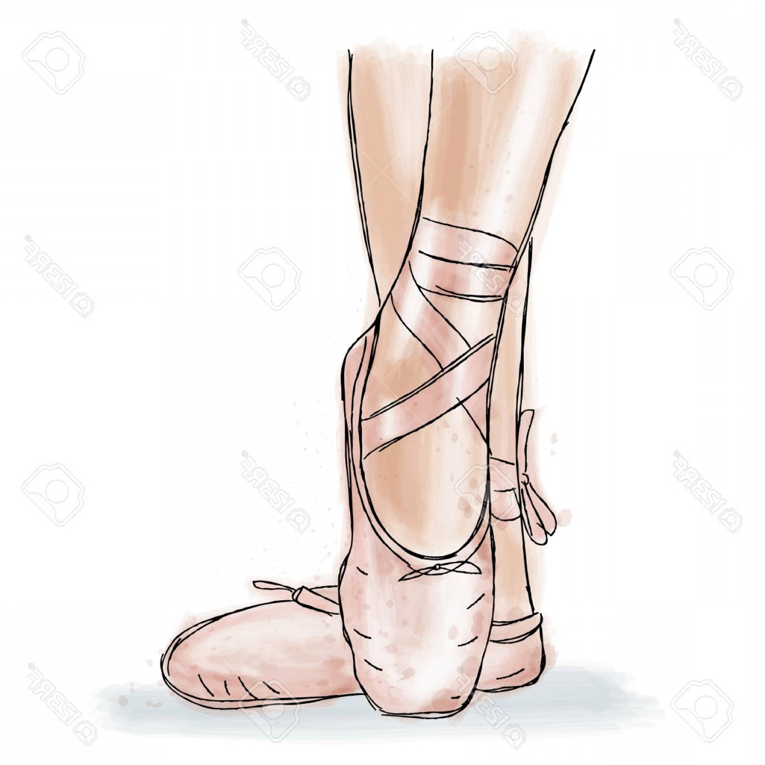 1560x1560 Photostock Vector Pink Ballerina Shoes Ballet Pointe Shoes With