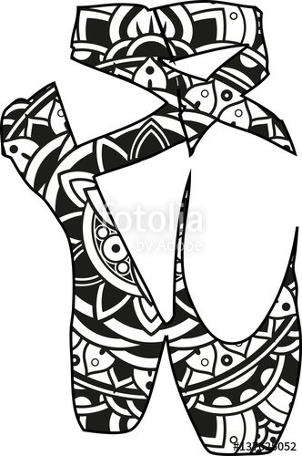 332x500 Vector Illustration Of A Pair Of Mandala Ballet Shoes Silhouette