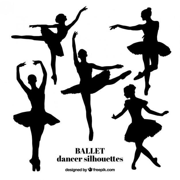 626x626 Five Realistic Ballet Dancer Silhouettes Vector Premium Download