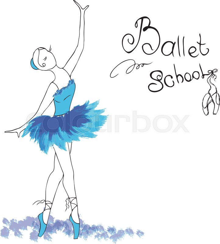 722x800 Ballet Dancer, Drawing In Watercolor Style, Vector Illustration