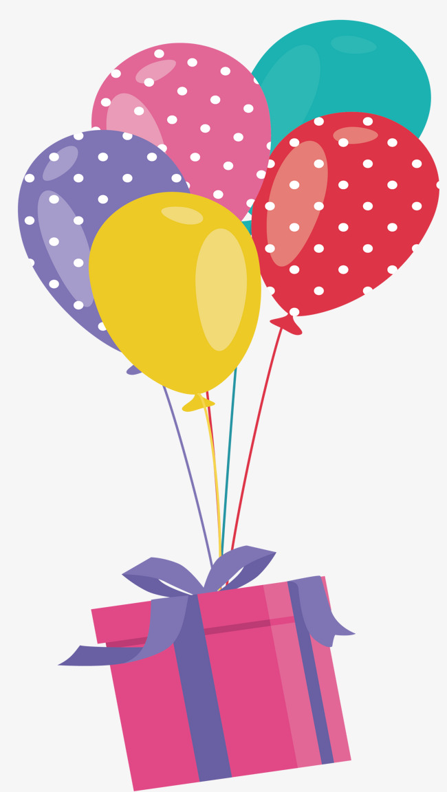 650x1152 A Gift Box Under A Balloon, Vector Png, Lovely Gift Box, Pink Gift