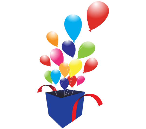 600x530 Box With Balloons Free Vector Art 123freevectors