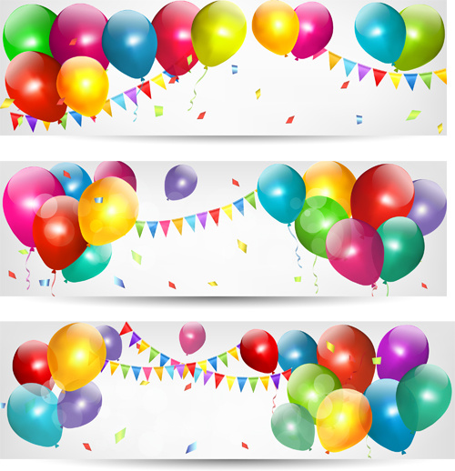 500x518 Birthday Banners Colored Balloons Vector Free Vector In Adobe