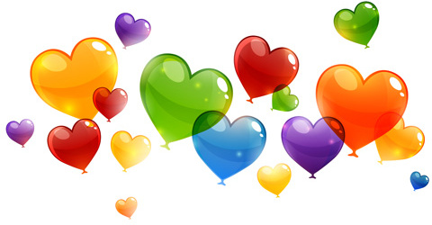 480x250 Color Heart Balloons Vector Free Vector In Encapsulated Postscript