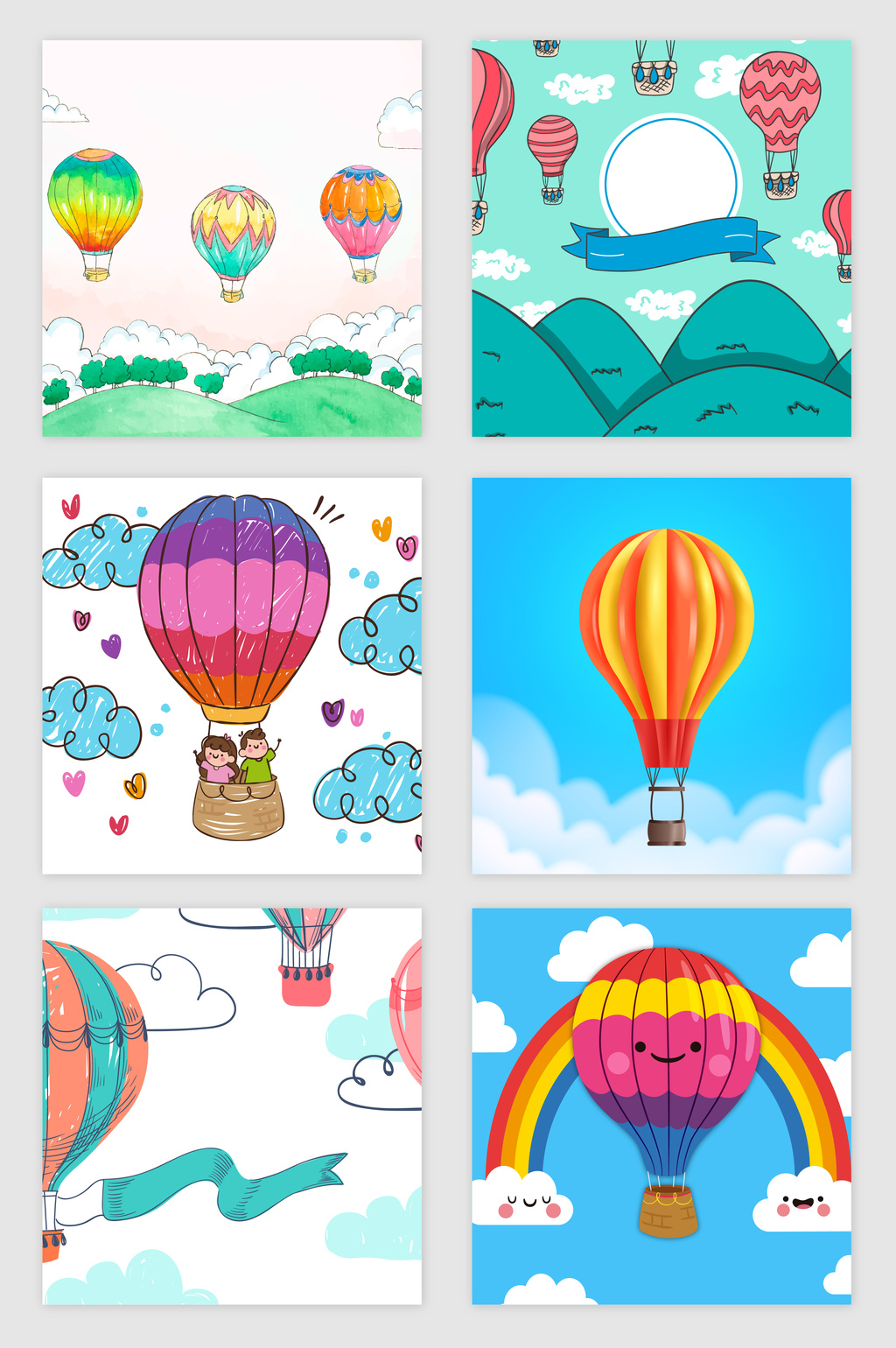 1024x1540 Hand Painted Hot Air Balloon Vector Material Free Download Pikbest