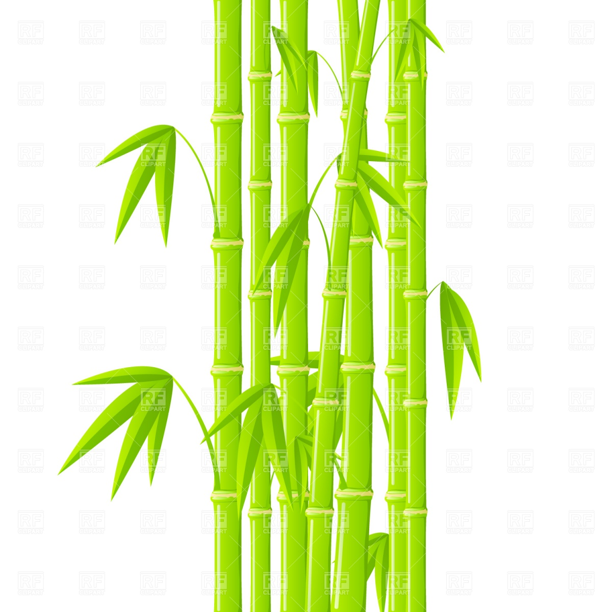 1200x1200 Green Bamboo Stems With Leaves Vector Image Vector Artwork Of