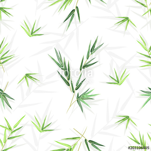500x500 Seamless Background With Bamboo Leaves, Vector Floral Pattern With