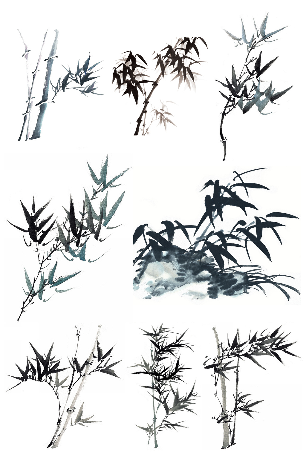 1024x1540 Ink Landscape Bamboo Vector Graphic Icon Free Download Pikbest