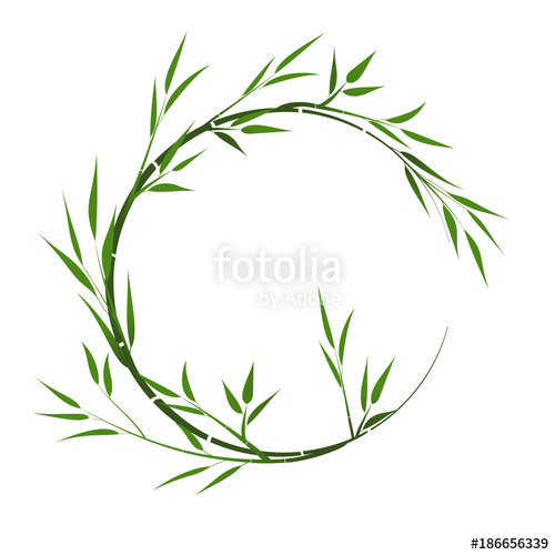 500x500 Round Frame With Bamboo. Vector Frame With Bamboo Leaves. Stock