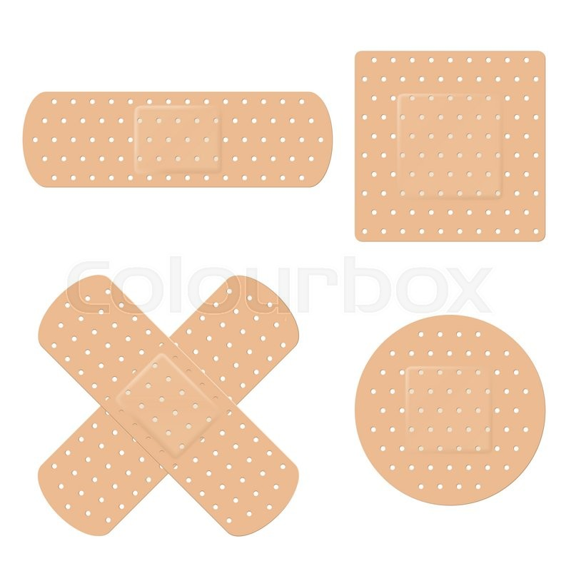 800x800 Vector Illustration Of Long, Round, Square And Crossed Adhesive