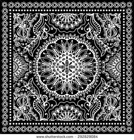 450x470 Black Bandana Print, Silk Neck Scarf Or Kerchief Square Pattern