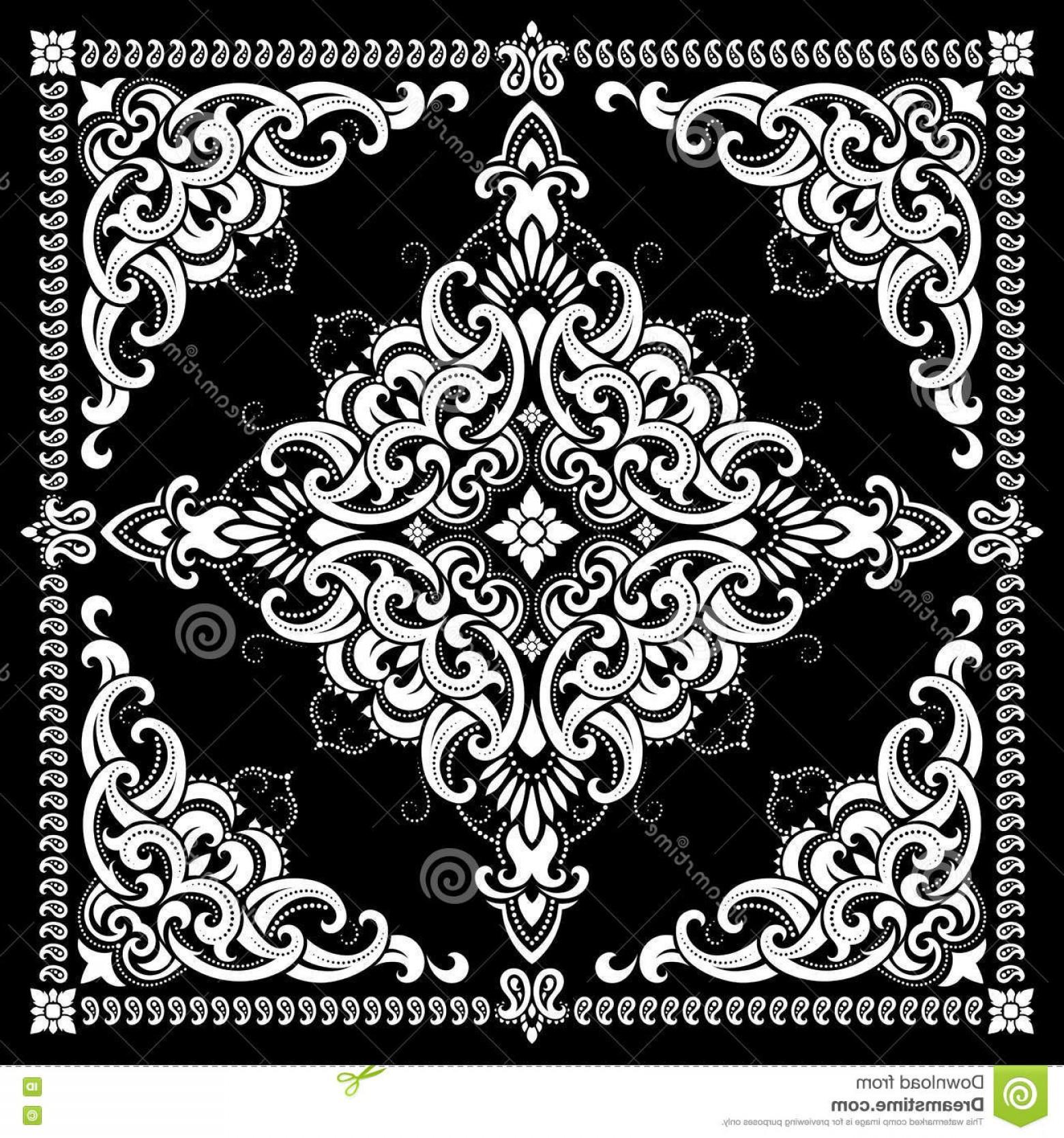 1560x1668 Black Paisley Bandana Pattern Vector Sohadacouri