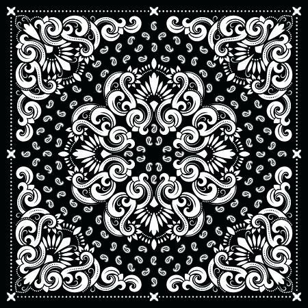 450x450 Paisley Vector Ornament Bandana Print Silk Neck Scarf Or Kerchief