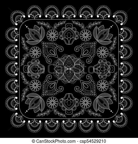 450x470 Black And White Bandana Print With Paisley. Square Pattern