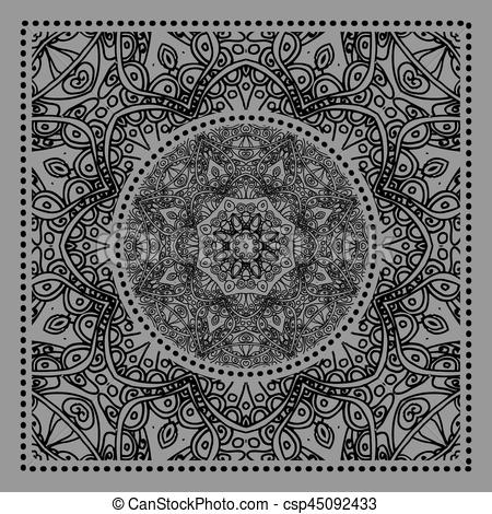450x470 Black Bandana Print. Vector Ornamental Tile Pattern With Border