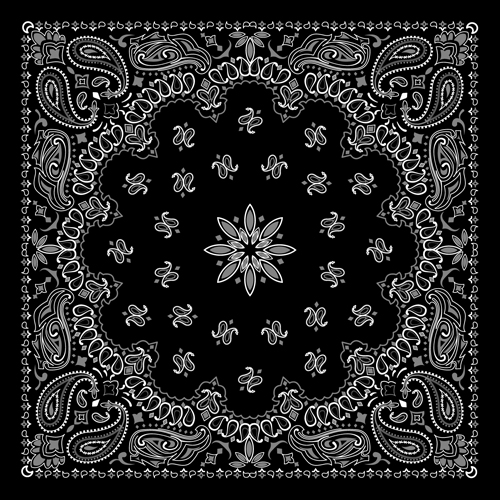 500x500 Black With White Bandana Patterns Design Vector 03 Free Download