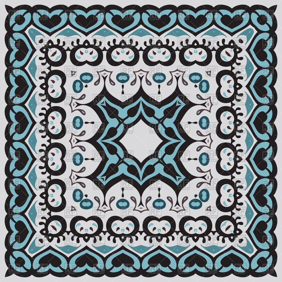 1200x1200 Ethnic Ornament For Bandana Vector Image Vector Artwork Of