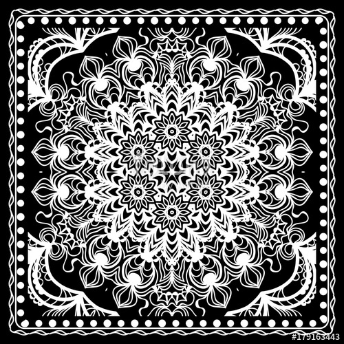 500x500 Fashion Design Black And White Paisley Bandana Print With Mandala