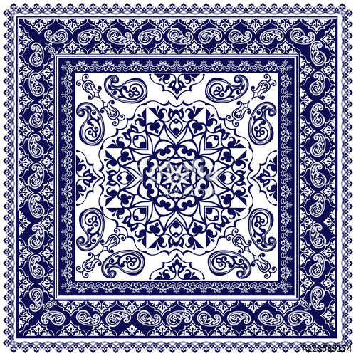 500x500 Indigo Dye Printed Traditional Paisley Pattern. Vector Ornament