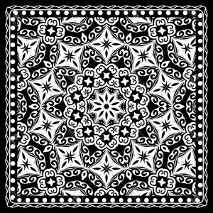 300x300 Photostock Vector Black And White Paisley Bandana Print With