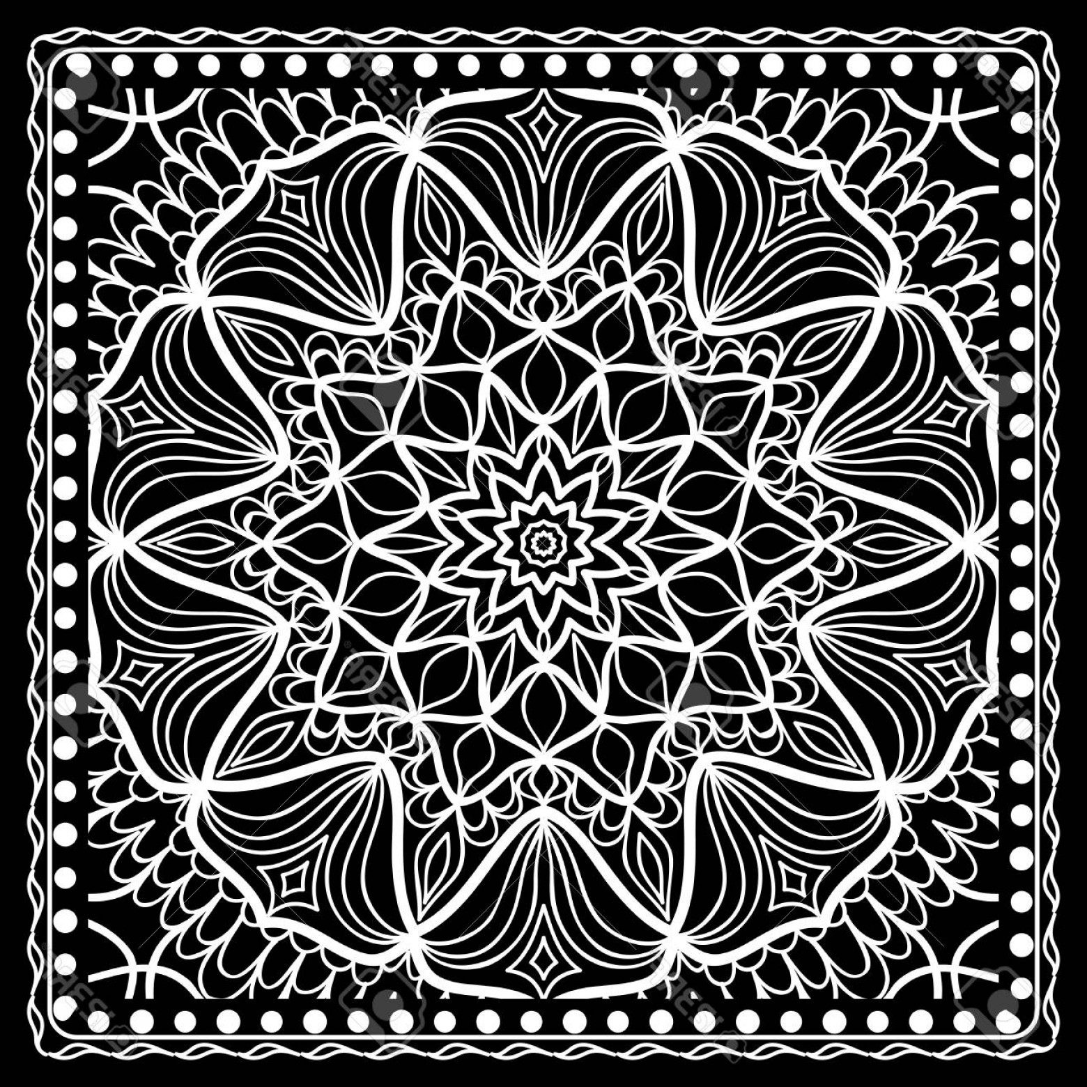 1560x1560 Photostock Vector Fashion Design Black And White Paisley Bandana