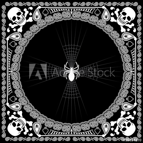 500x500 Bandana Pattern Skull And Spider