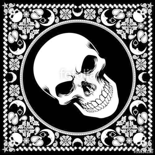 500x500 Bandana Pattern With Skull Stock Image And Royalty Free Vector
