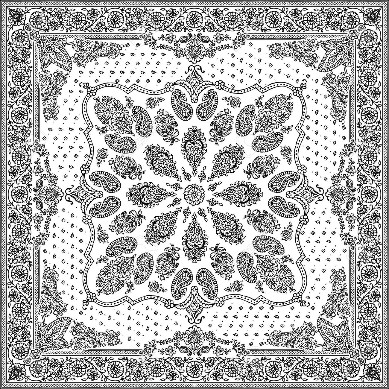 1300x1300 Bandana Pattern Clipart Black And White