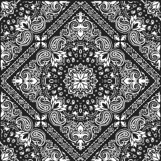 626x625 Bandana Pattern Floral Vector Premium Download