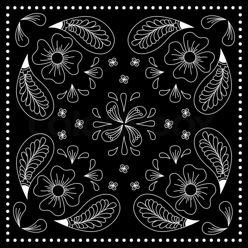 800x800 Black And White Abstract Bandana Print With Element Henna Style