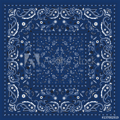 500x500 Blue Bandana Print