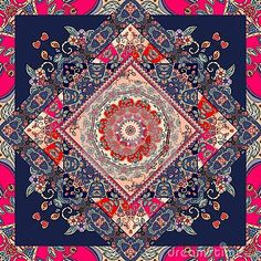 236x236 Decorative Floral Ornament. Can Be Used For Cards, Bandana Prints