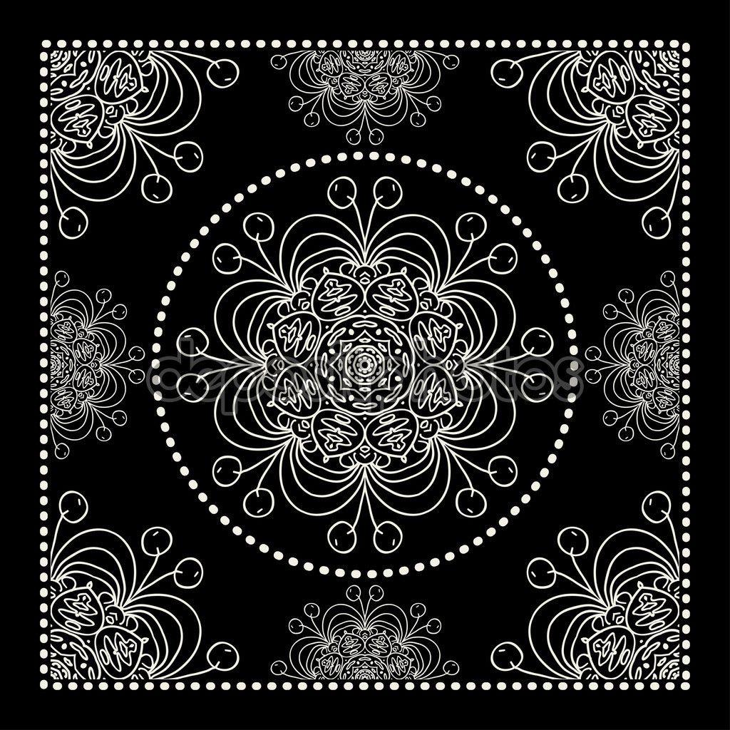 1024x1024 Abstract Black Bandana Print Vector By Ilonitta Backgrounds