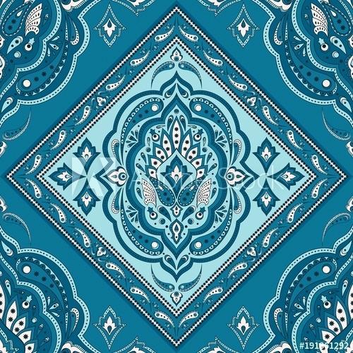 500x500 Persian Rug Print Fabric Floral Paisley Pattern Vector Border