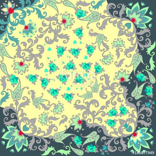 500x500 Quarter Of Ethnic Bandana Print With Paisley Ornament And Stylized