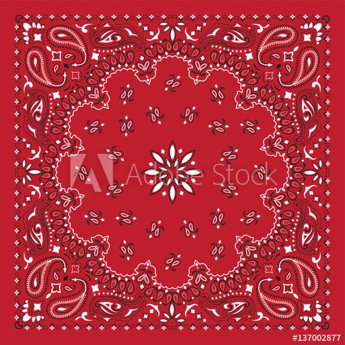 500x500 Red Bandana Print