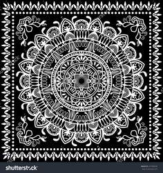236x251 Stock Vector Black Bandana Print Silk Neck Scarf Or Kerchief
