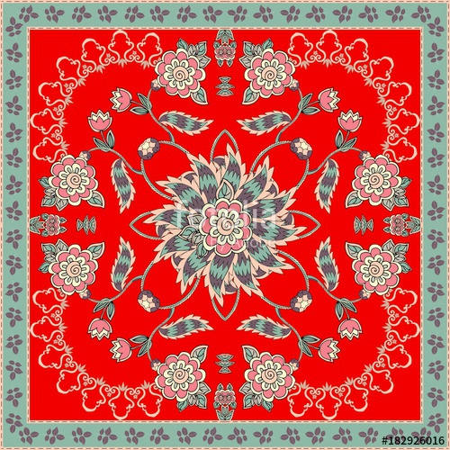 500x500 Bandana Print With Atylized Leaves And Flowers On Bright Red