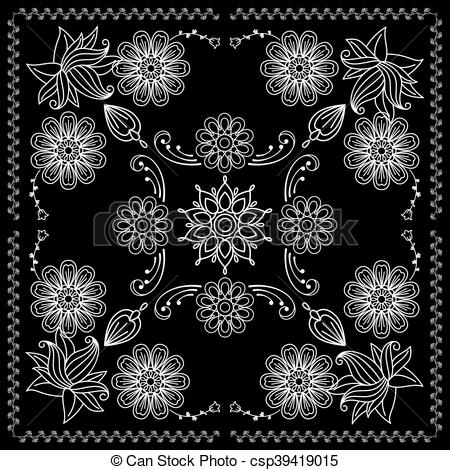 450x470 Bandana Print With Black And White Elements. Black And White