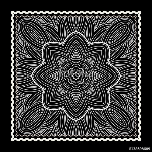 500x500 Black Bandana Print. Vector Ornamental Tile Pattern With Border