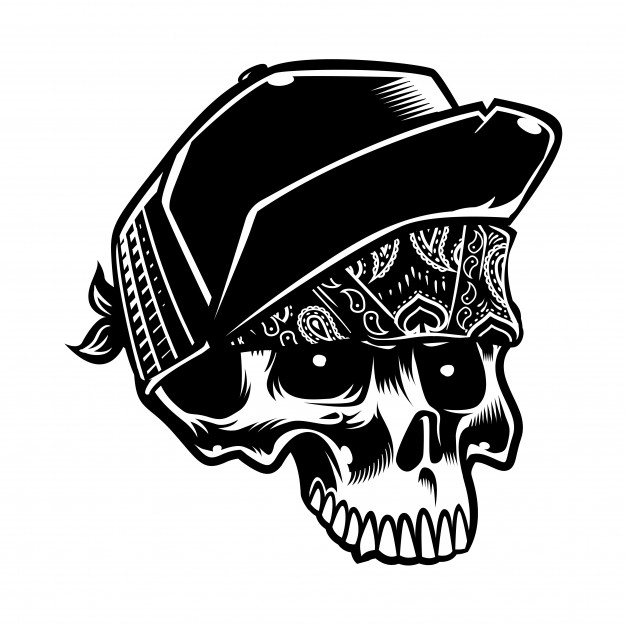 626x625 Cool Style Skull Wearing Hat And Paisley Bandana Vector Premium